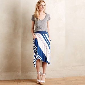 Anthropologie Bordeaux Sea Stripe Skirt in Blue